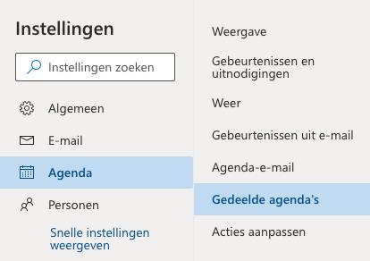 Outlook Agenda koppelen stap 2.